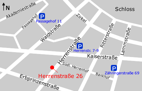 Anfahrt Parkplätze Herrenstraße 26